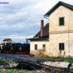 Zwei Tage vor der Sonderfahrt nach Agnita konnte 764 205 am 10.10.1998 in Sibiu vor dem Lokschuppen aufgenommen werden. Im Vordergrund die Schmalspur-Drehscheibe des Depots.