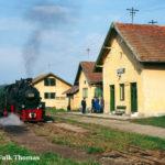 Bahnhofsszene in Cornățel (Harbachsdorf), wo sich das Personal vor dem schönen Empfangsgebäude versammelt hat.