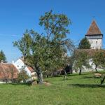 Noch einmal die Kirchenburg, hier aus dem Pfarrgarten