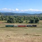 Zum Abschluss noch einmal eine Totale der bunten Zuggarnitur im Harbachtal vor den Bergen der Südkarpaten