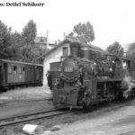 """Noch ein Blick auf 764 201 im Schmalspurbahnhof Sibiu. Die Lok ist 1949 von den """"23. August""""-Werken in Bukarest für die CFR gebaut worden"""